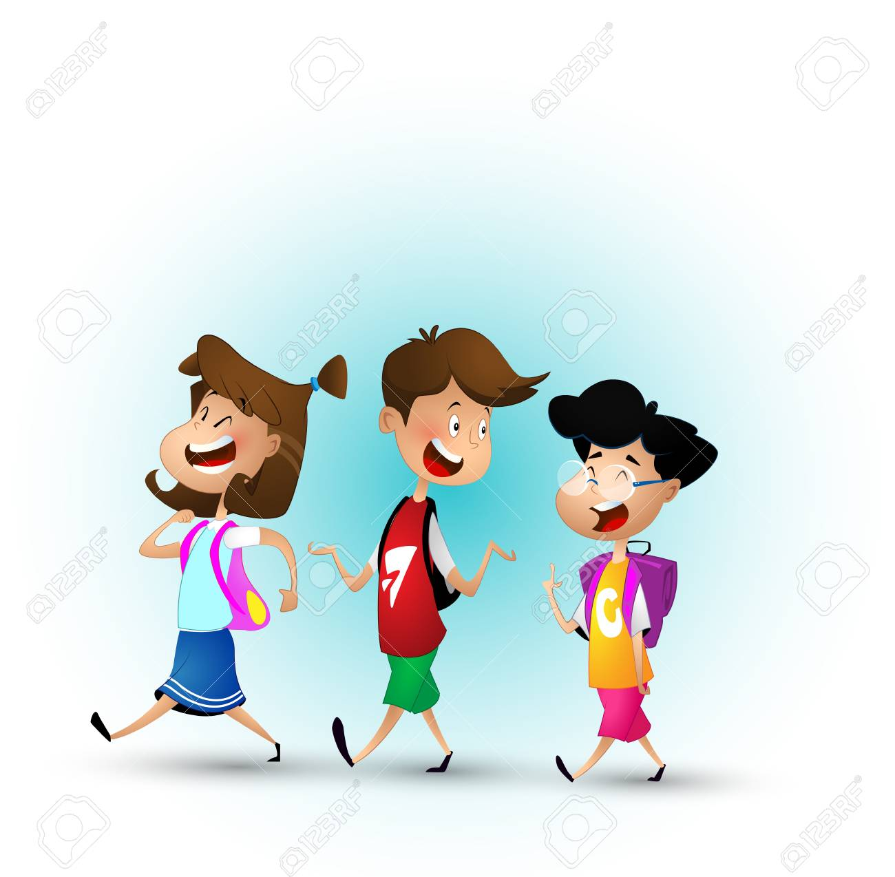 Group of kids going to school together. - 97737467