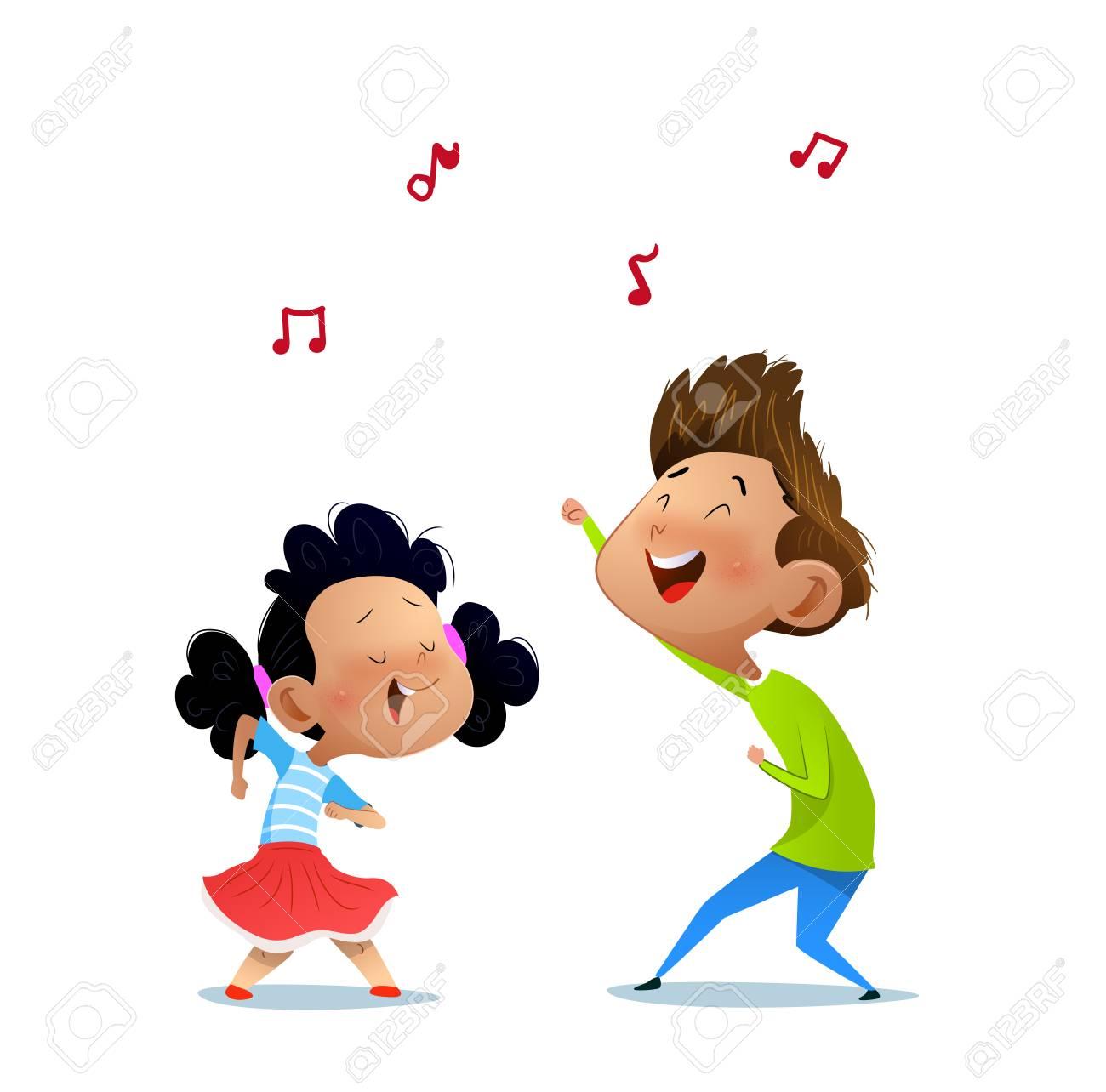 Illustration of two dancing kids. Cartoon vector illustration - 115243747