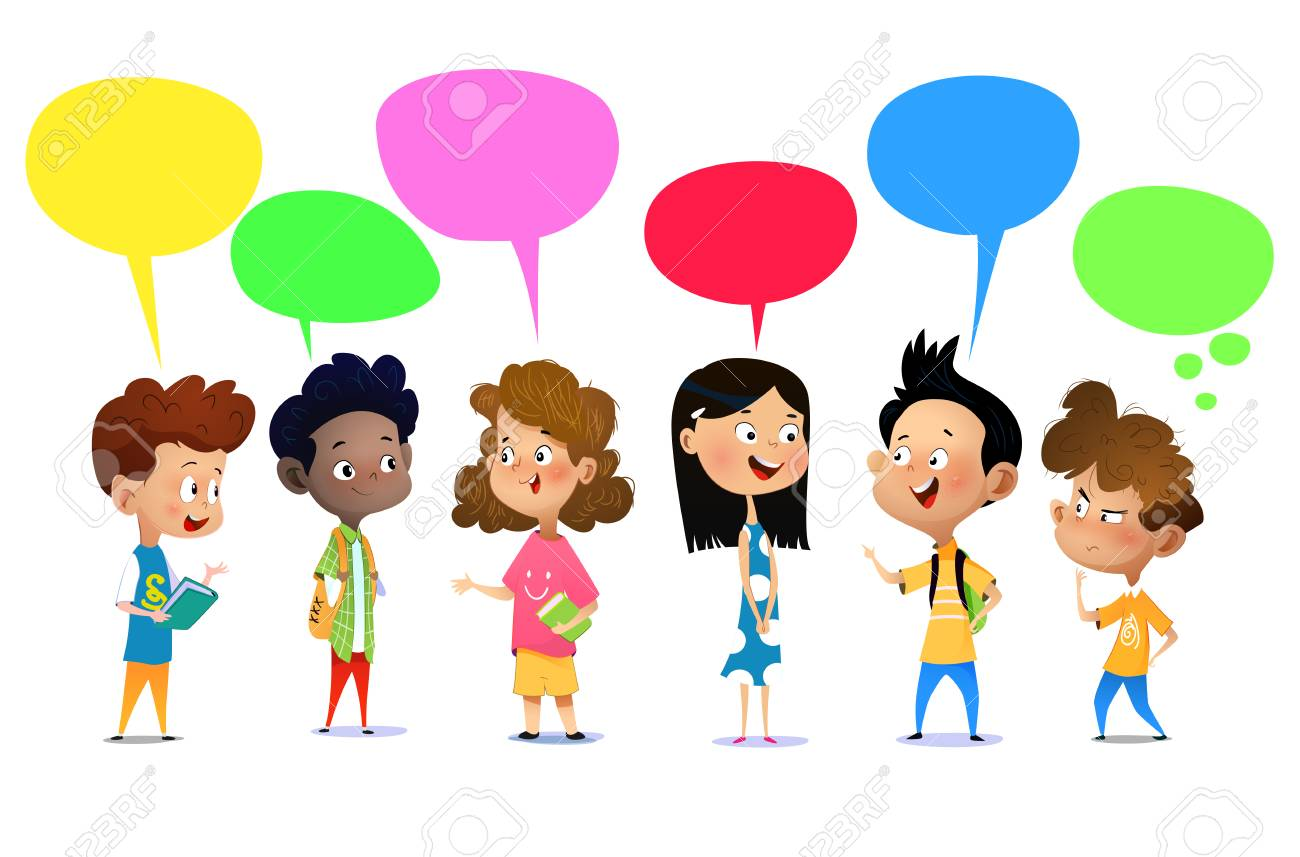 Happy school kids are talking about something. Cartoon vector illustration - 127019758