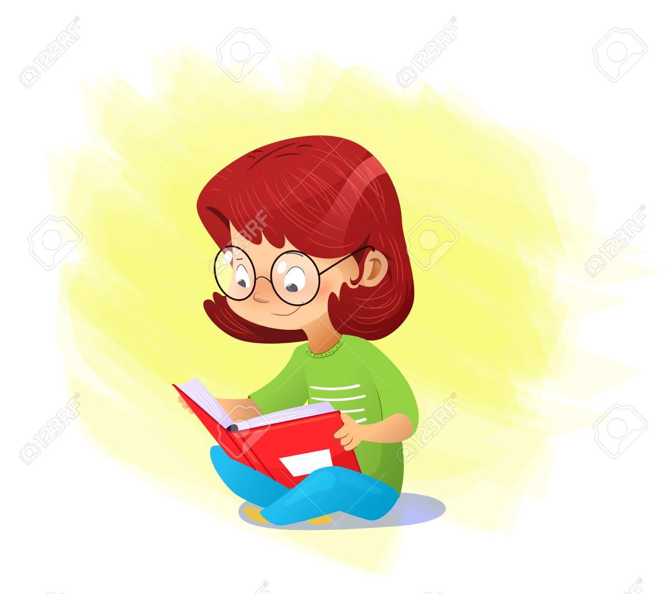 Alone Cartoon Girl happy cartoon girl reading book alone. vector