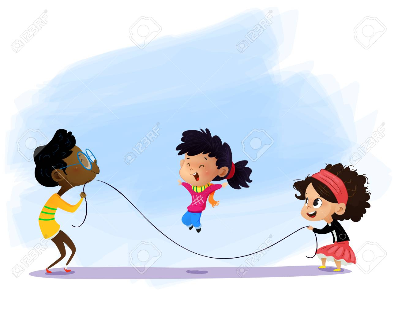 Children Playing Jumping Rope Cartoon Vector Illustration Royalty Free Cliparts Vectors And Stock Illustration Image 125453262