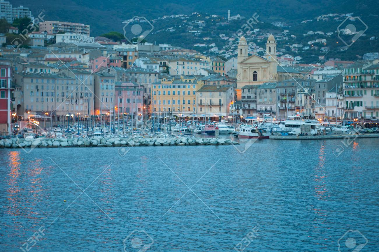 The Old Port The Vieux Port At Sunset In Bastia Corsica Stock