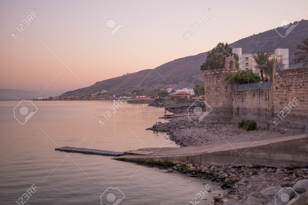 Sunset view of the Sea of Galilee, in Tiberias, Israel - 50378224