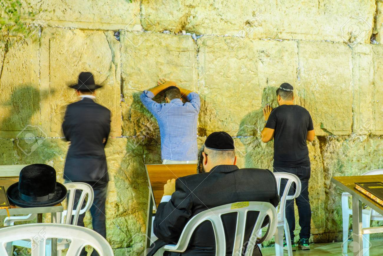 JERUSALEM, ISRAEL - SEPTEMBER 06, 2017: Night Scene Of The Western ...