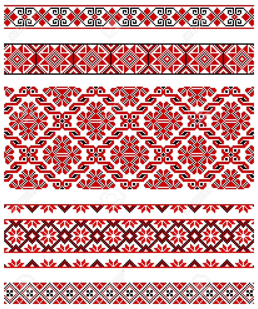 illustrations of ukrainian embroidery ornaments, patterns, frames and borders. Stock Vector - 8877450