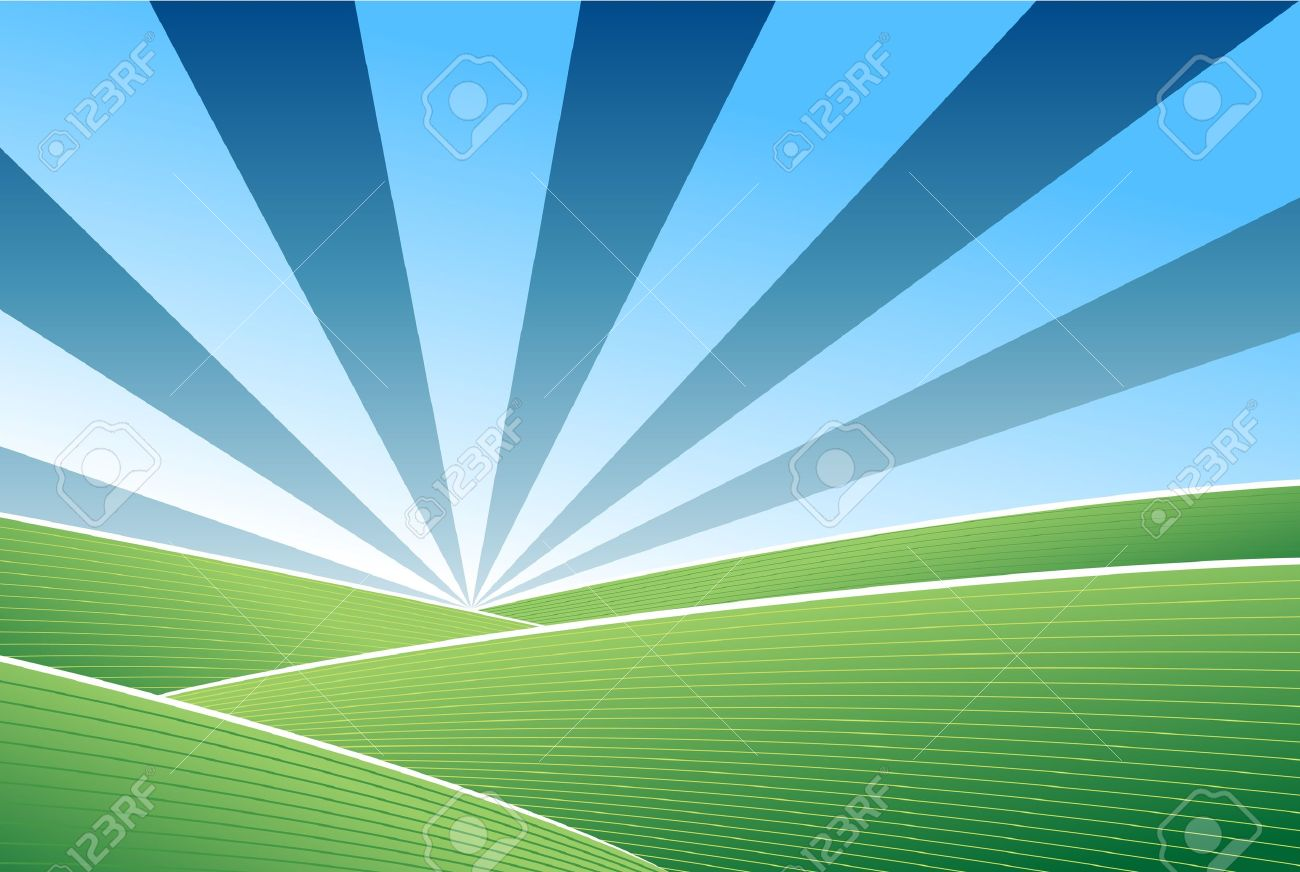 Field And Sky Background Blue Sky Vector Background