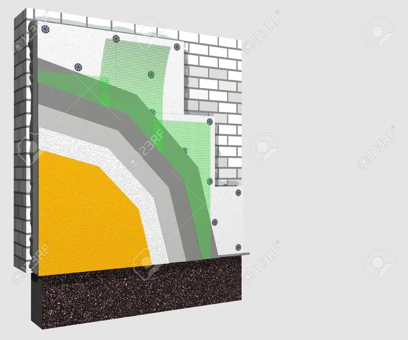 3d-schichtsystem von außenwanddämmung polystyrolplatten für die