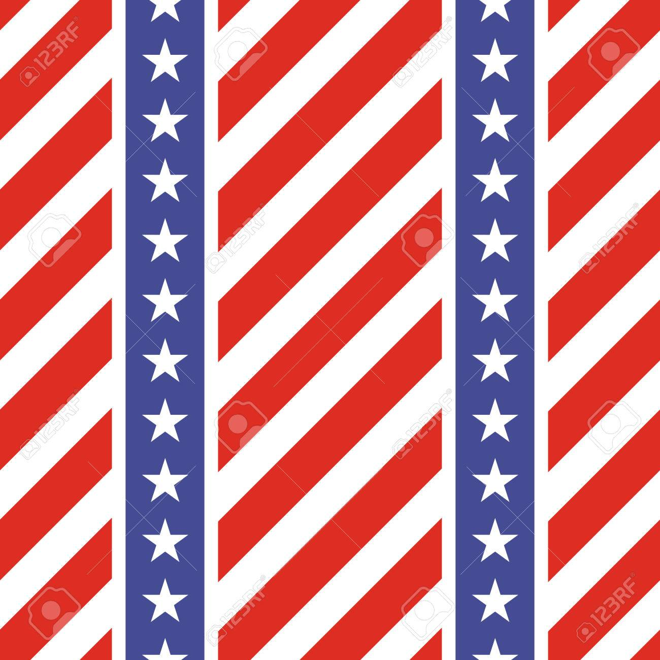 Patriotic Usa Seamless Pattern American Flag Symbols And Colors