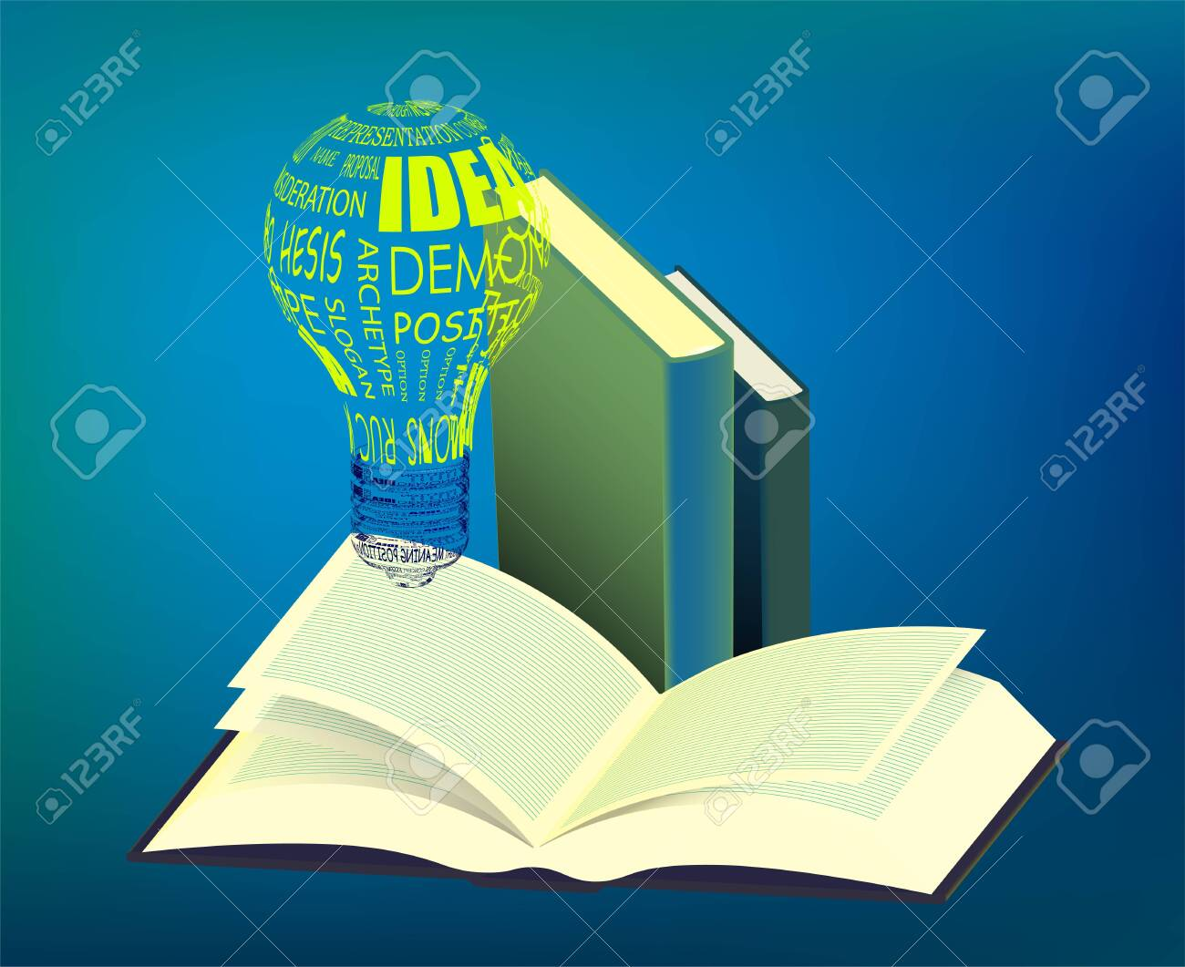 light bulb glows over an open book. Reading books, the importance of education. Getting important information and ideas in the library. Vector illustration - 147411102