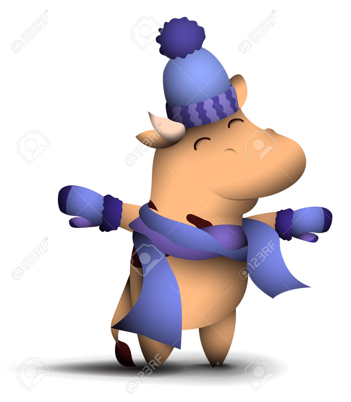 happy little bull, symbol of 2021 according to Chinese calendar, stands in hat, warm winter scarf and mittens. Winter clothing for cold weather. New Year in good mood. Funny animals. Vector - 156668912