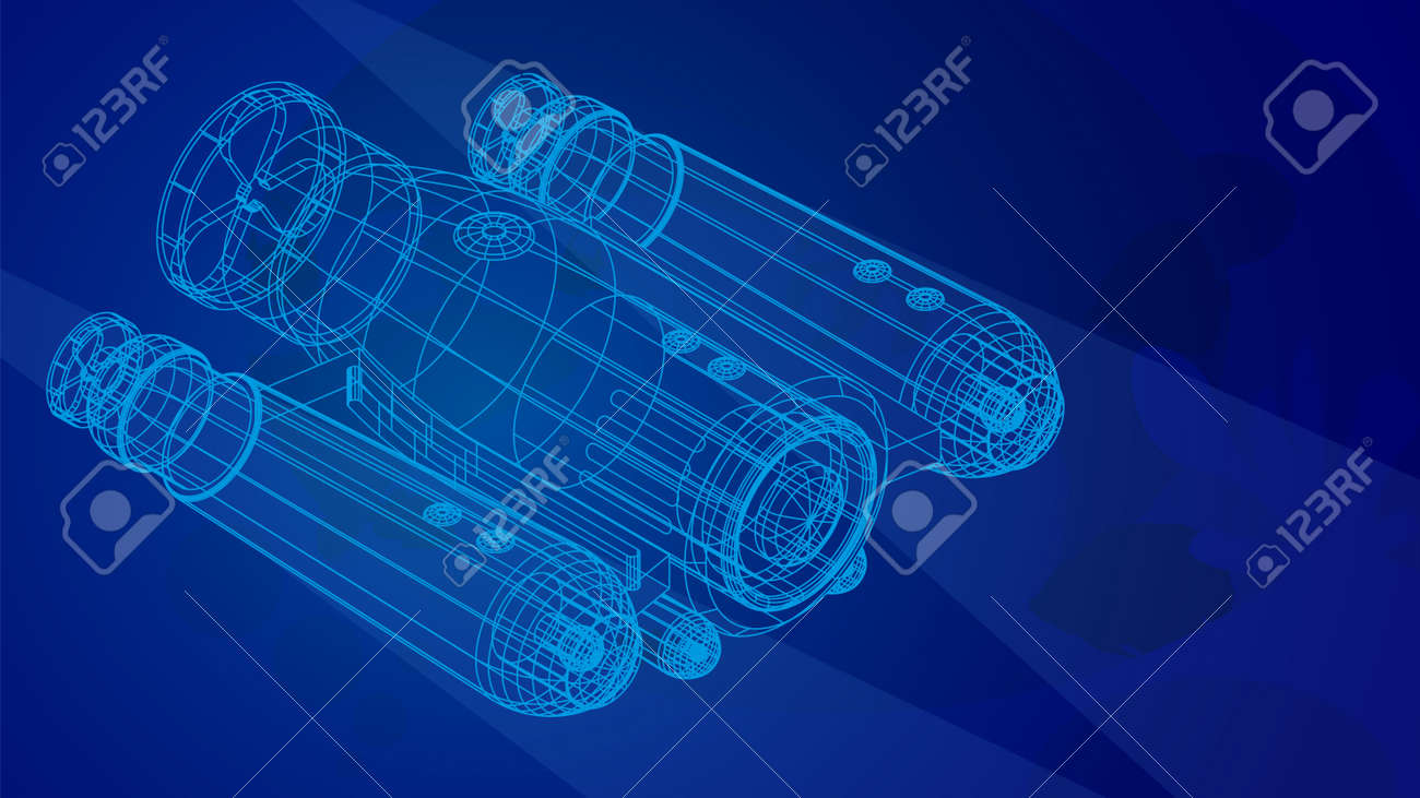 autonomous underwater robot drone for seabed exploration and deep sea video filming in wireframe low poly mesh on blue underwater background. 3d vector - 168969280