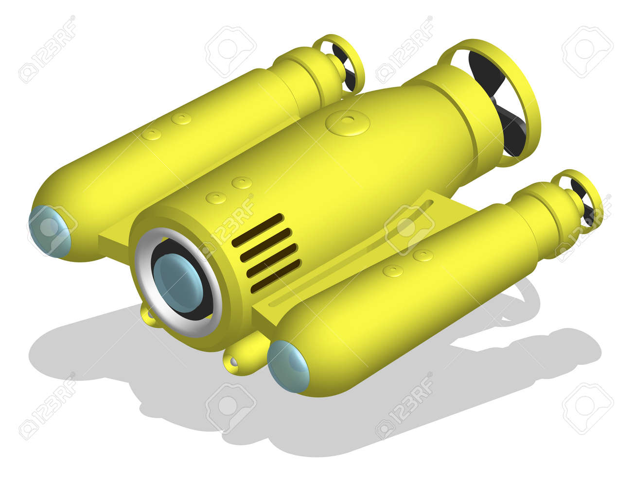 autonomous underwater robot drone for seabed exploration and deep sea video filming. 3d vector - 168969281