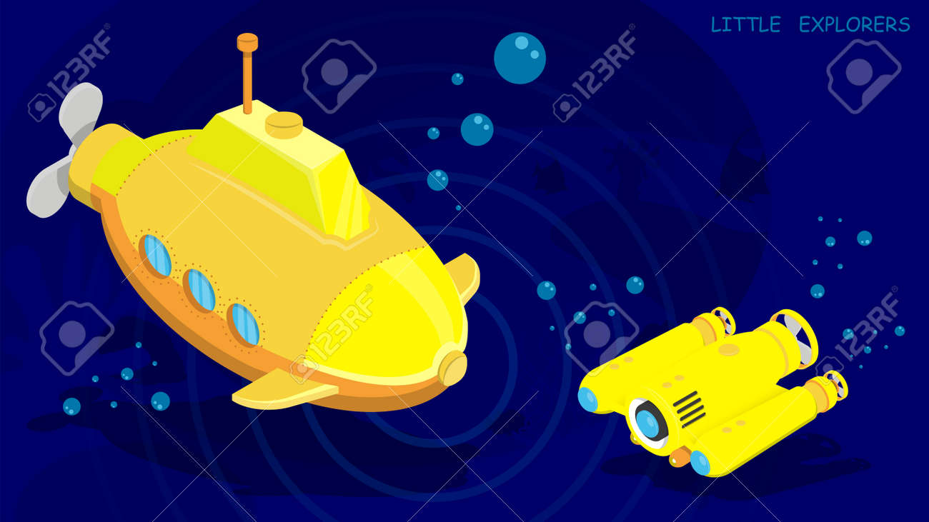 submarine and autonomous underwater robot drone conduct research and video filming of the seabed. Vector in cartoon style - 168969284