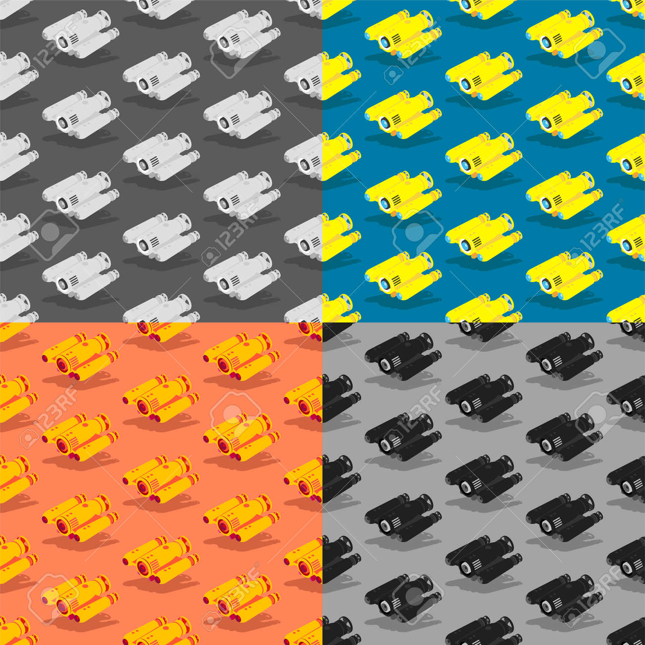 set of seamless patterns with yellow autonomous underwater robot drone. Children toys and entertainment. Ornament for decoration and printing on fabric. Design element. Vector - 168967668