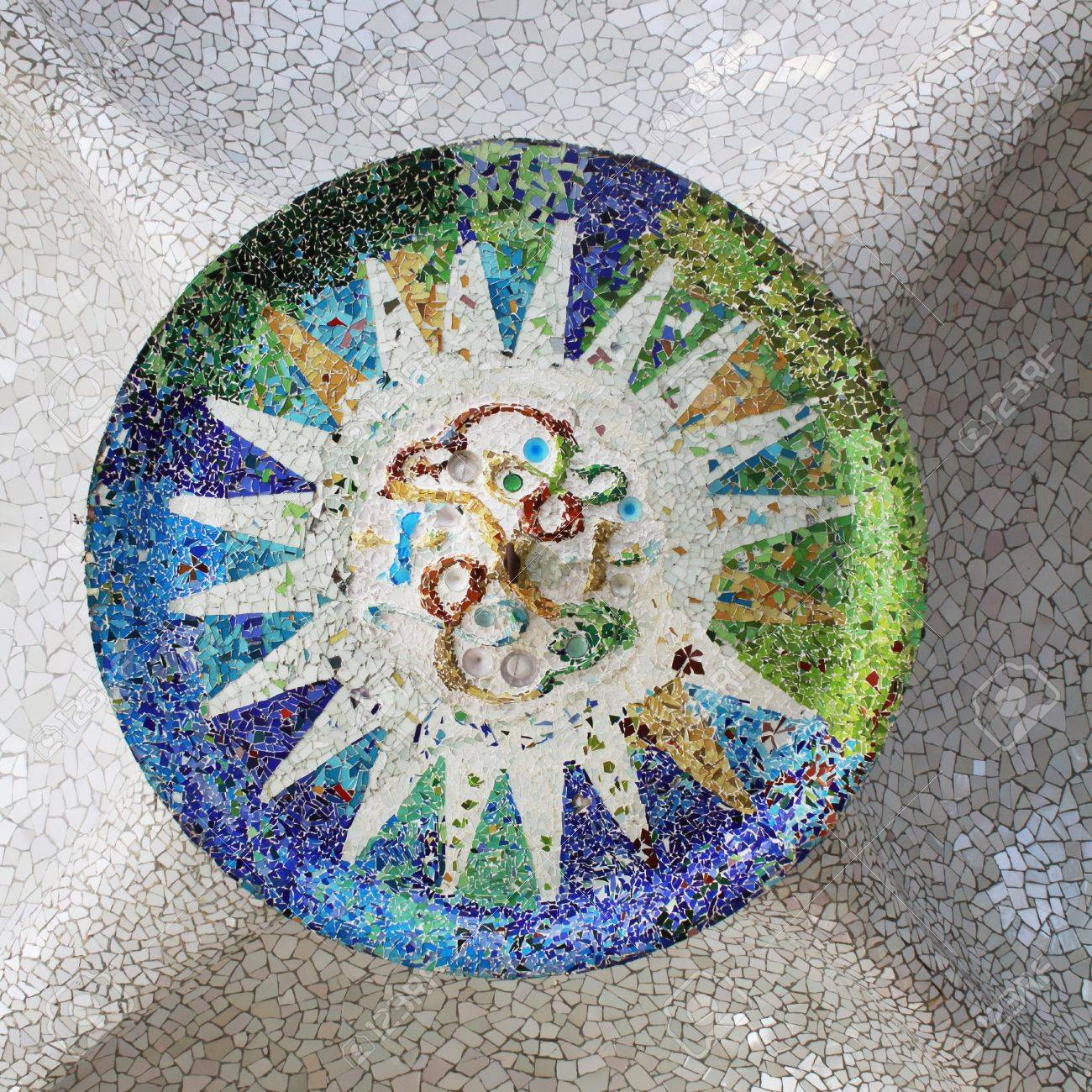 Detail of Antonio Gaudi s mosaic style at Parc Guell in Barcelona Stock Photo - 13033838