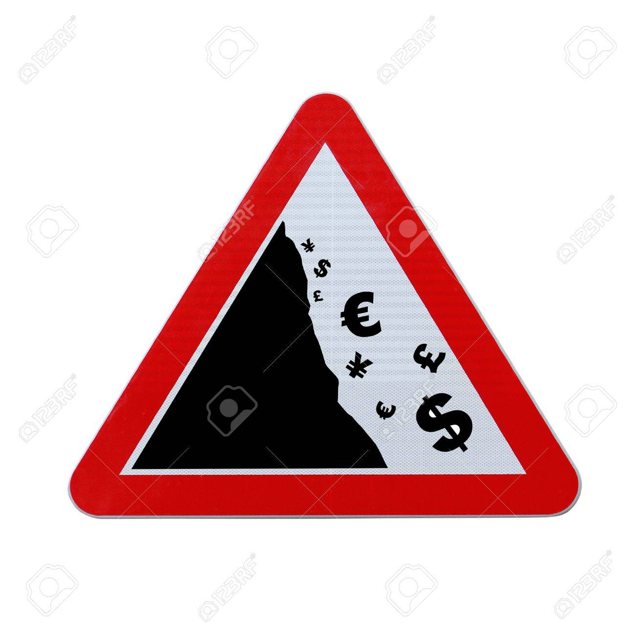 An actual road sign modified to imply the fall or devaluation of major world currencies  Applicable for business or financial concepts   Isolated on white with clipping path Stock Photo - 13562997
