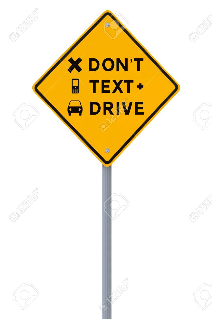 Modified road sign highlighting the danger of texting and driving  isolated on white Stock Photo - 13934758