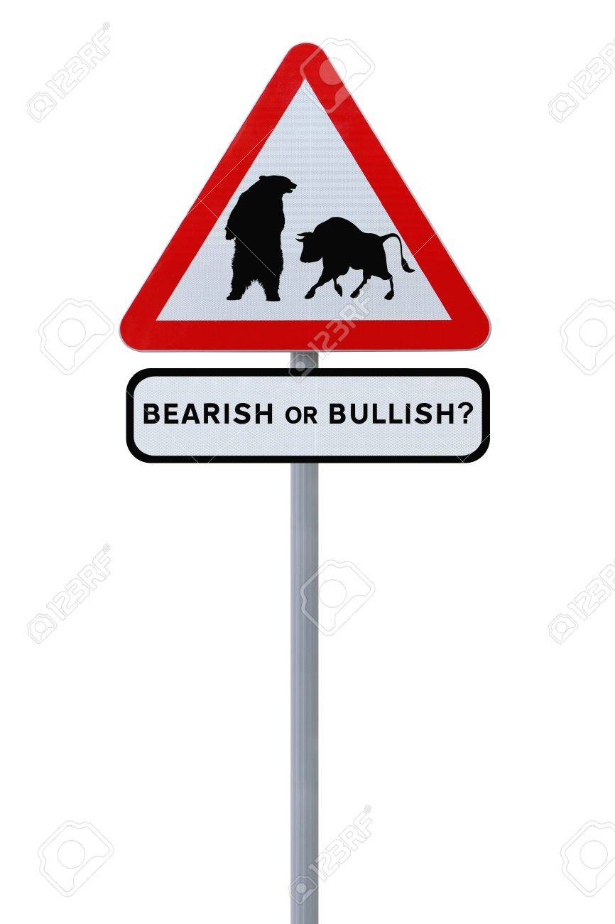 A conceptual road sign on business or finance implying market uncertainty (i.e. BEAR or BULL). Isolated on white. Stock Photo - 14024287