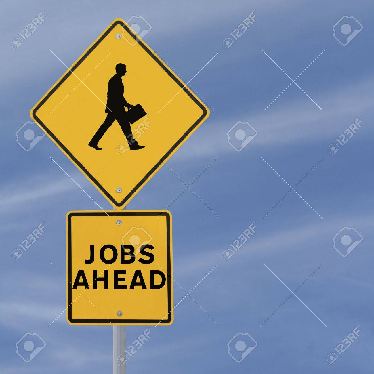 Jobs Ahead road sign with a silhouette of walking man  on a blue sky background with copy space Stock Photo - 14365677