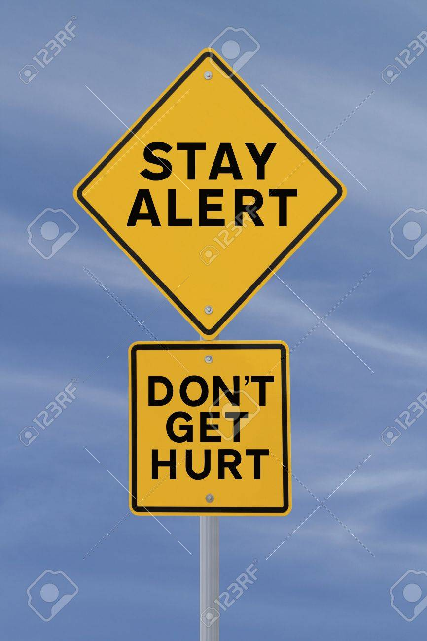 Road sign with a safety reminder against a blue sky background Stock Photo - 14965858