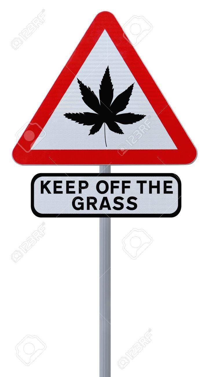 Warning sign on the use of marijuana (isolated on white) Stock Photo - 14989355