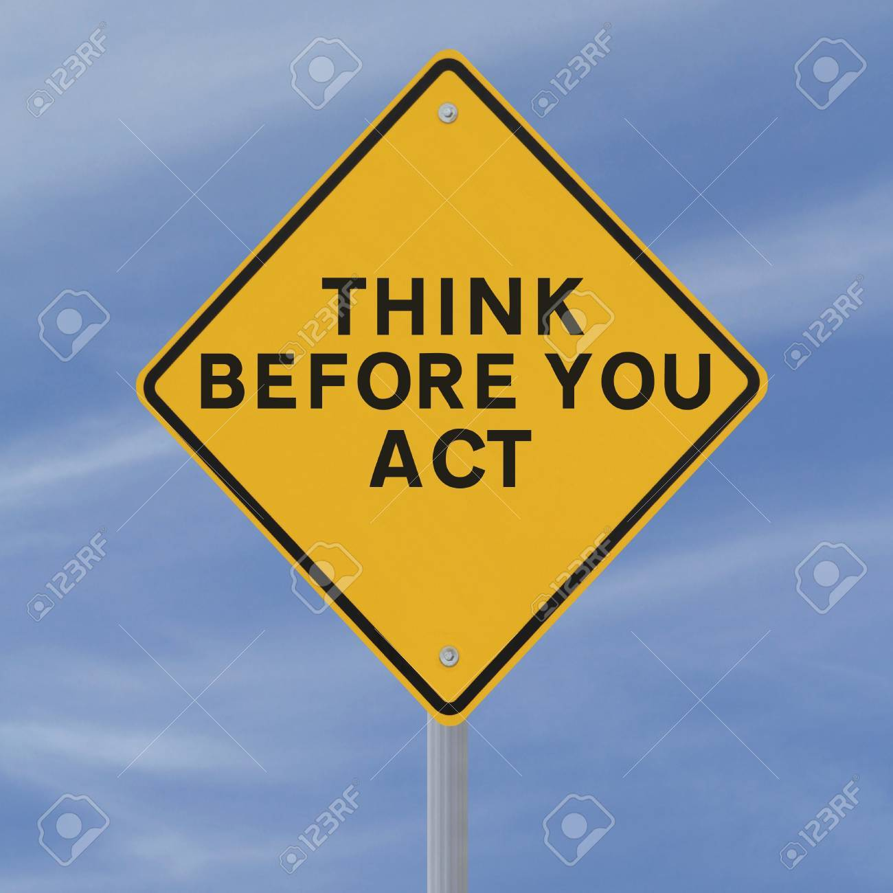 A road sign indicating a safety reminder or saying (against a blue sky background) applicable to workplace or road safety Stock Photo - 15081903