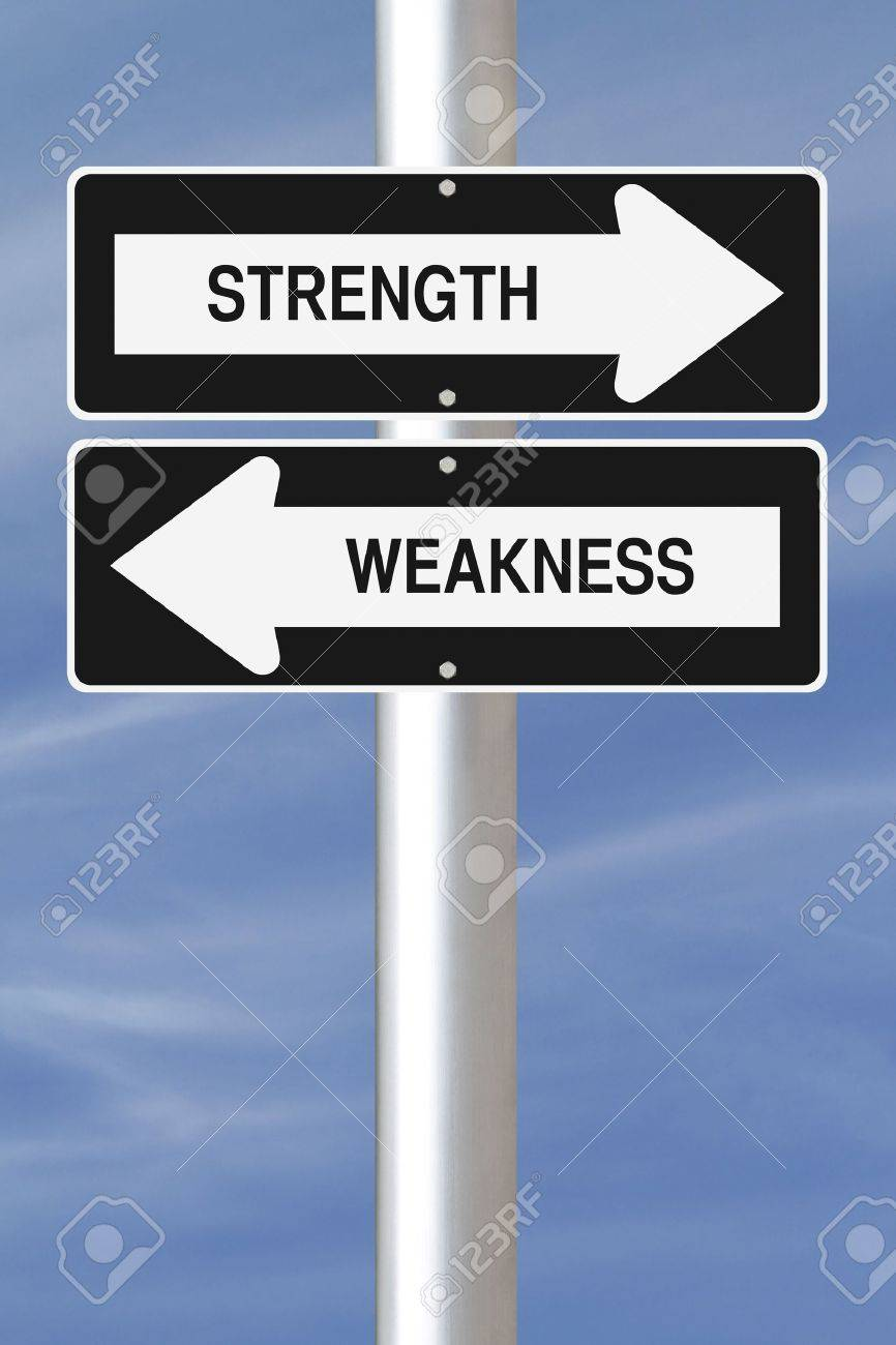 strength and weakness one way street signs stock photo picture stock photo strength and weakness one way street signs