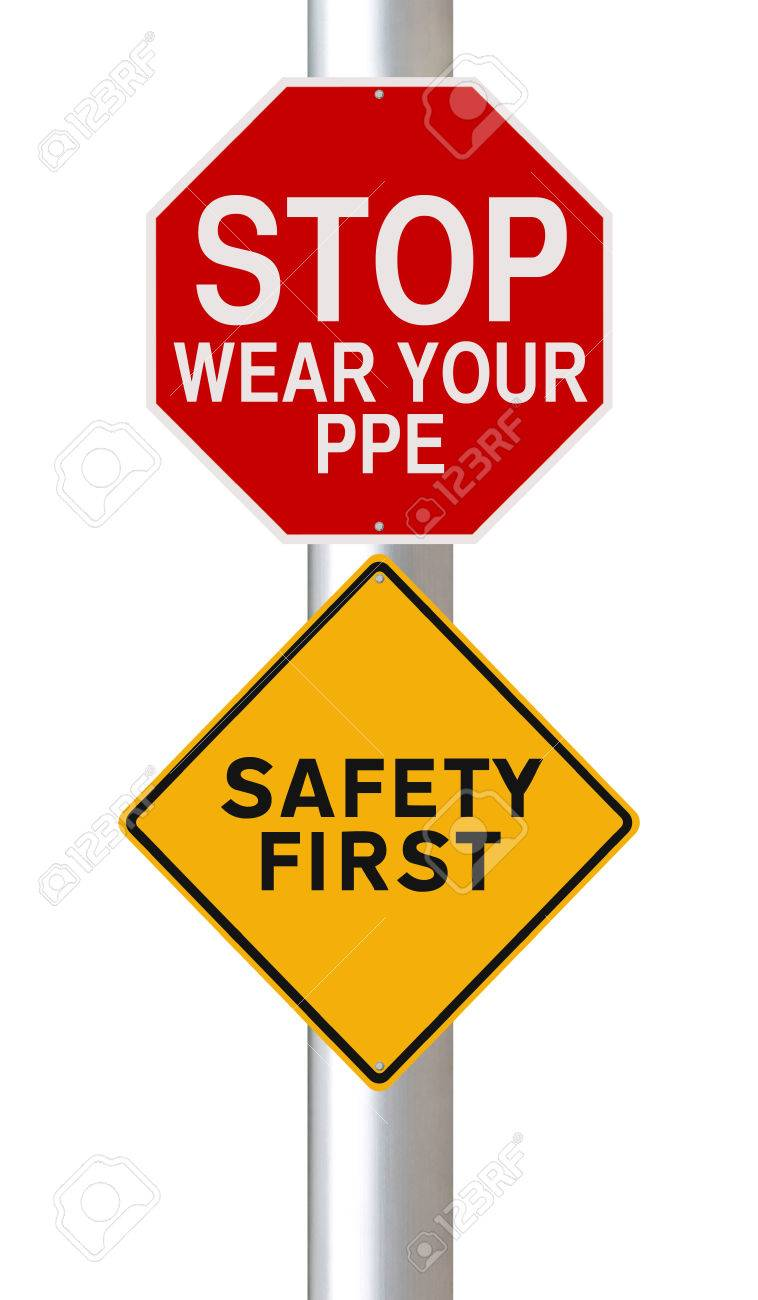 Modified road signs on safety stock photo 41553150