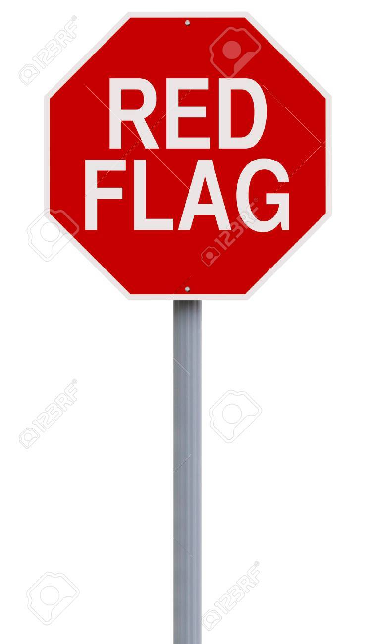 A modified stop sign indicating Red Flag - 59845176