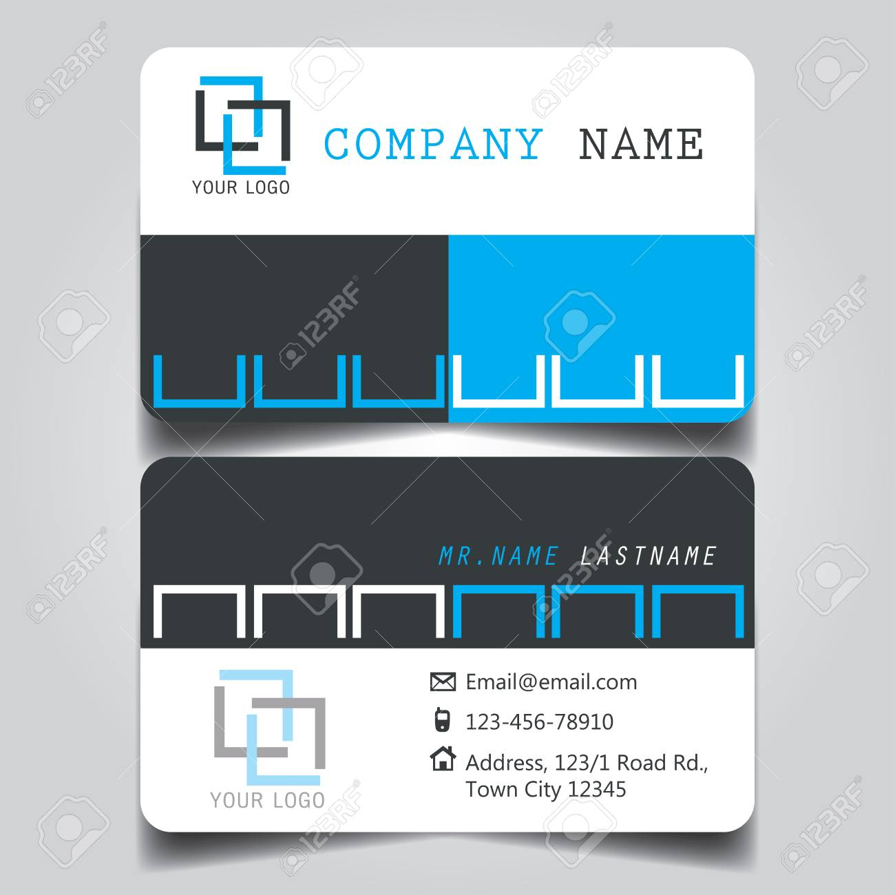 White black and white creative modern name card and business vector white black and white creative modern name card and business card with horizontal standard size vector template reheart Images