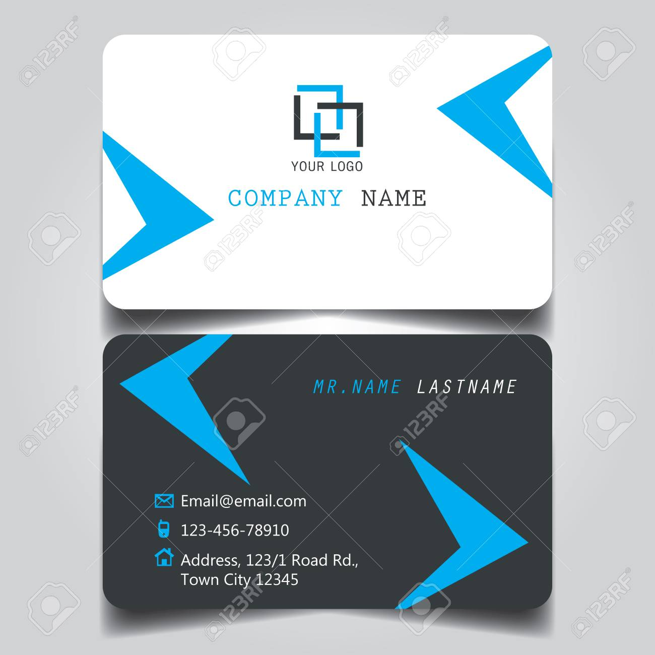 Black White And Blue Creative Modern Name Card And Business Card ...