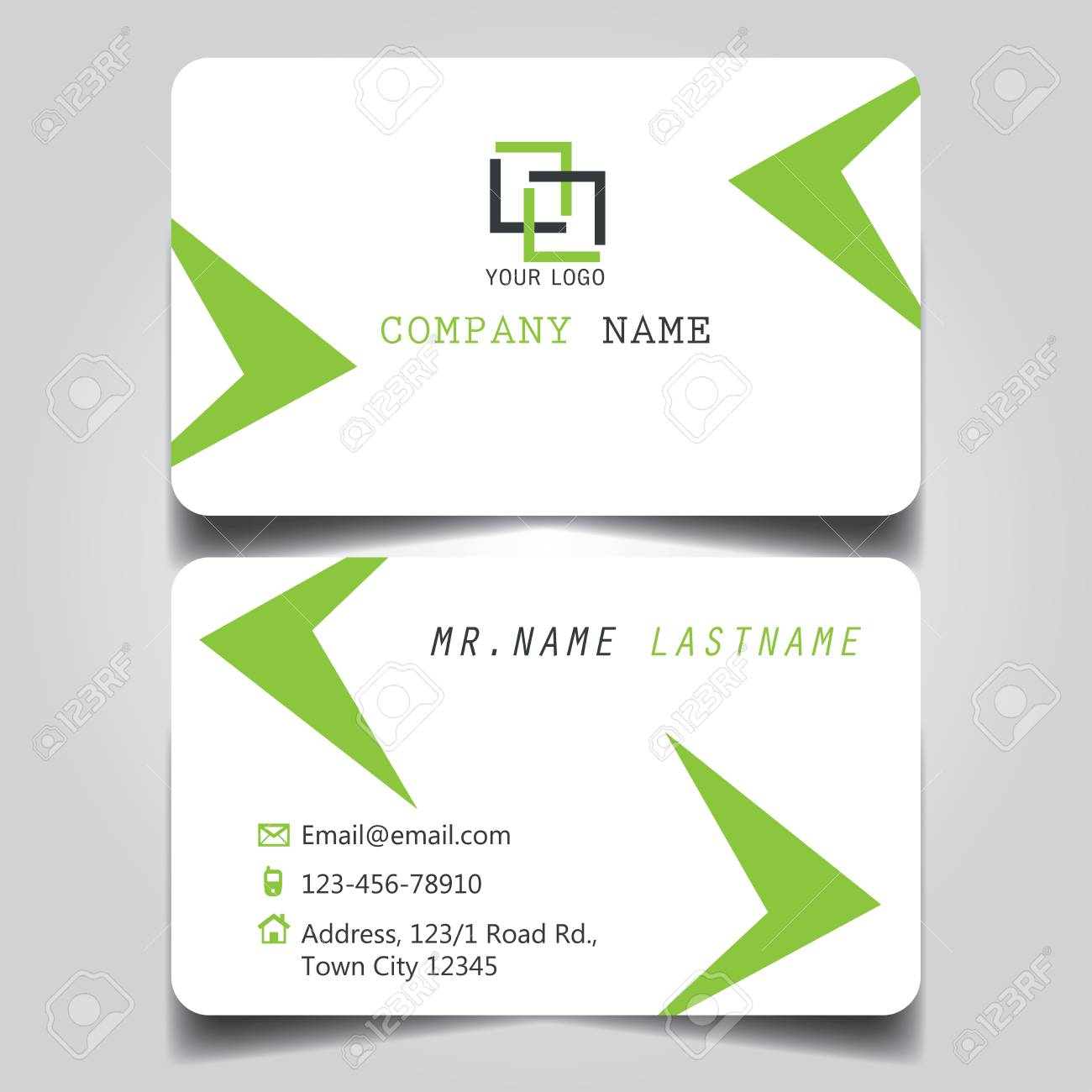 modern green and white name card and business card with creative