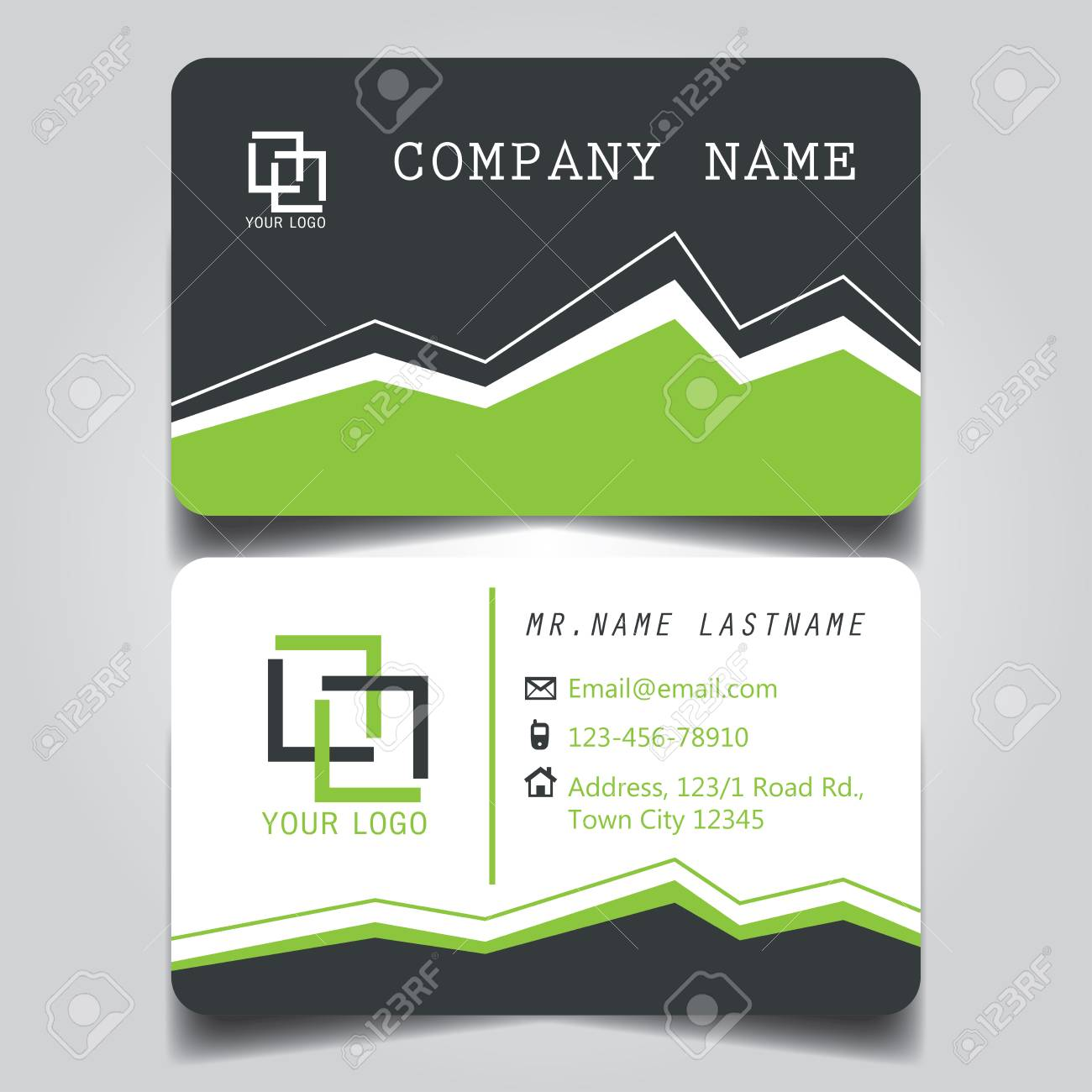 Modern green and white name card and business card with creative modern green and white name card and business card with creative design dimension in depth reheart Choice Image