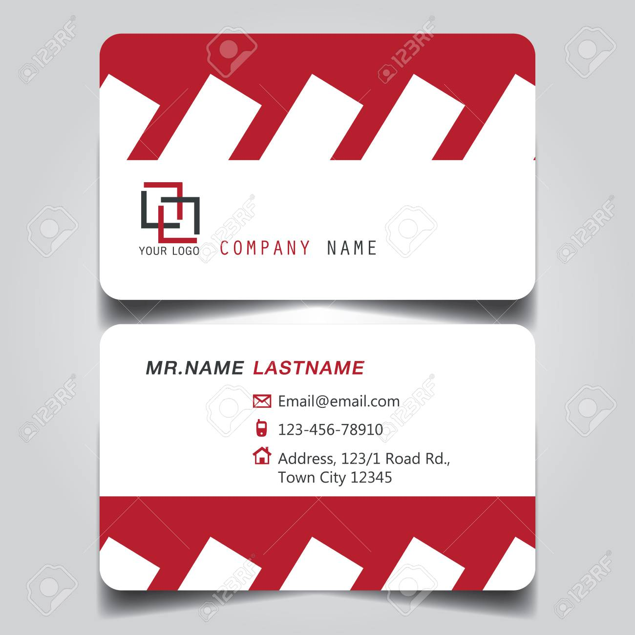 modern red and white name card and business card with creative