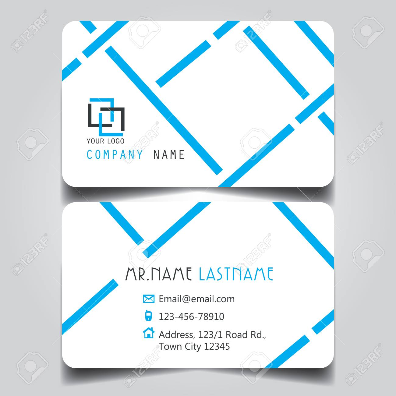Modern blue and white name card and business card with creative modern blue and white name card and business card with creative design dimension in depth reheart Choice Image