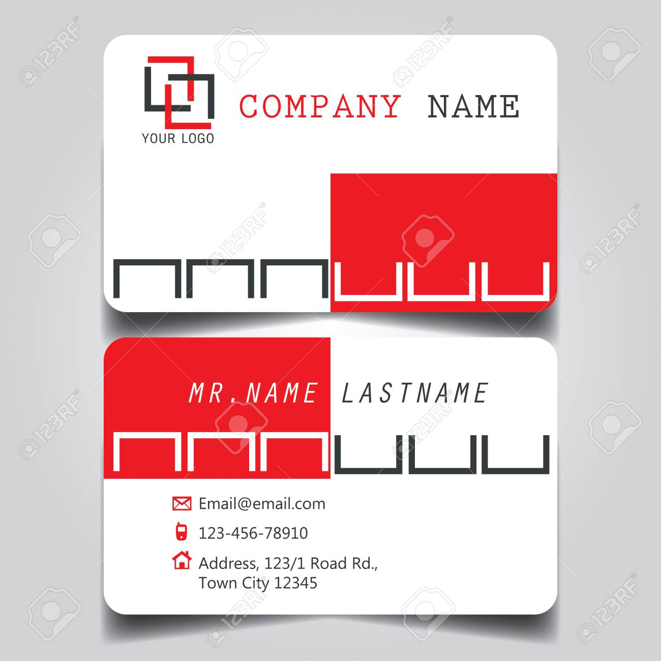 Modern red white and black name card and business card with modern red white and black name card and business card with creative design dimension reheart Choice Image