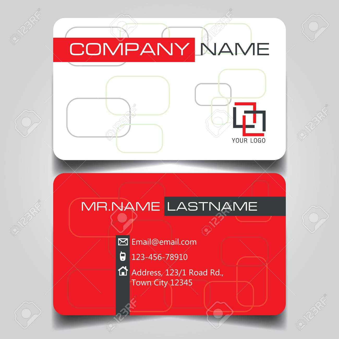 Modern Red White And Black Name Card And Business Card With