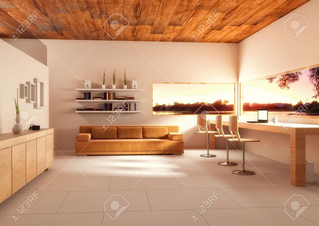 Illustration d de la pièce de bureau spacieuse dans des couleurs