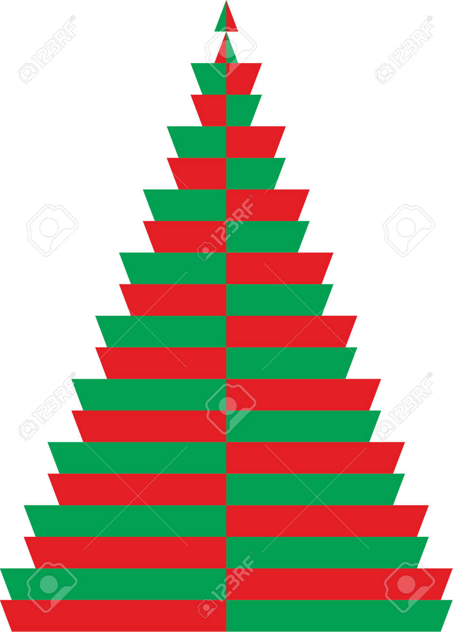 Easy Christmas Tree In Green And Red Color Royalty Free Cliparts ...