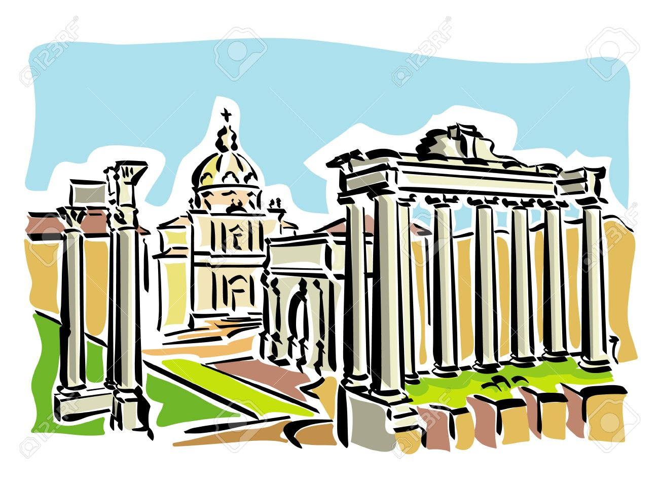 rome ancient roman forum royalty free cliparts vectors and
