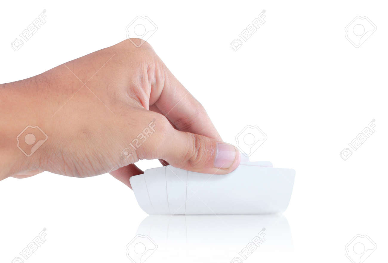 gesture of hand open a white card Stock Photo - 8403809
