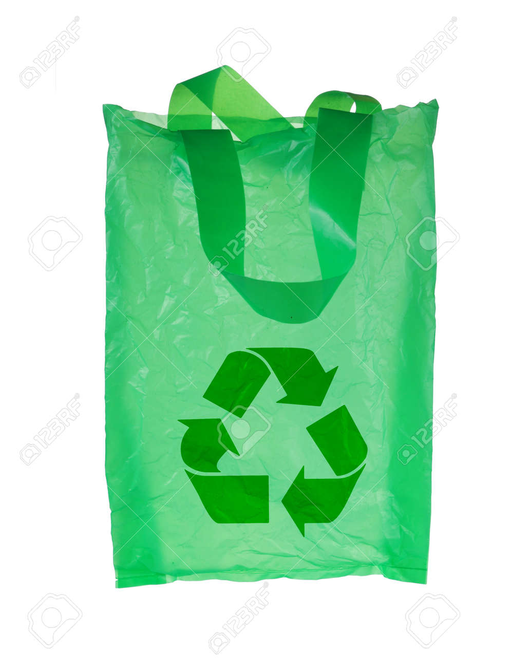 Green Plastic Bag With Recycle Symbol. Isolated Over White ...