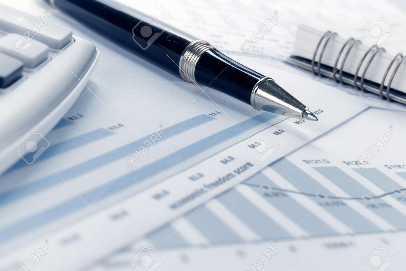 Business background, financial data concept with pen Standard-Bild - 9204088