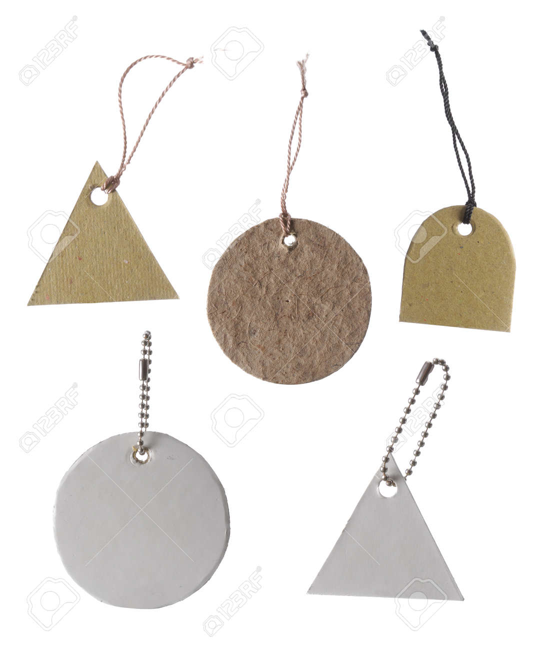 Blank tag tied. Price tag, gift tag, sale tag, address label, some different shape Standard-Bild - 9469665