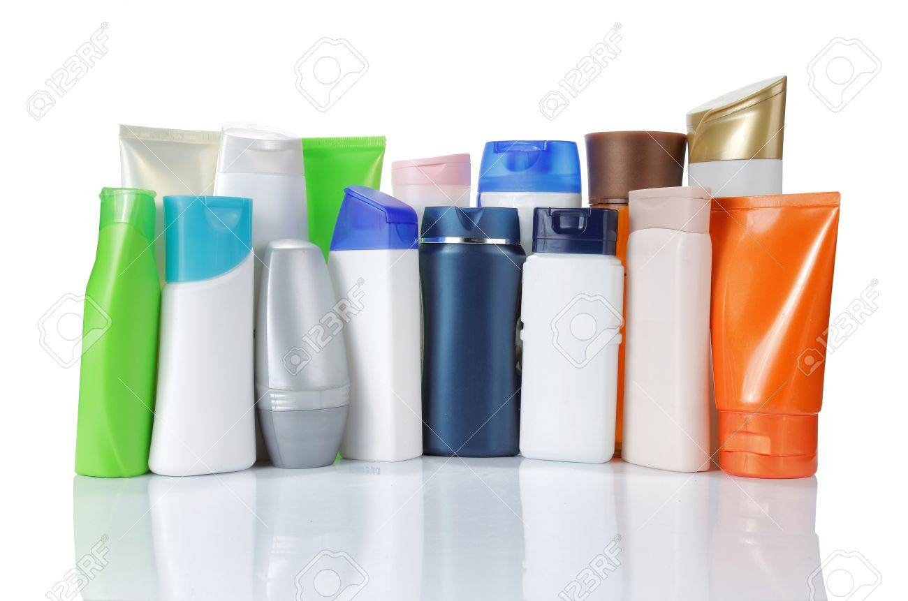 large group of product packaging. isolated over white background Standard-Bild - 9607728