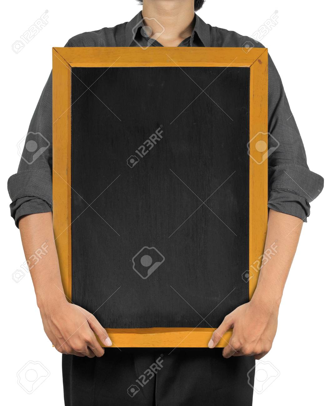 man holding a blank blackboard. isolated over white Stock Photo - 9607733