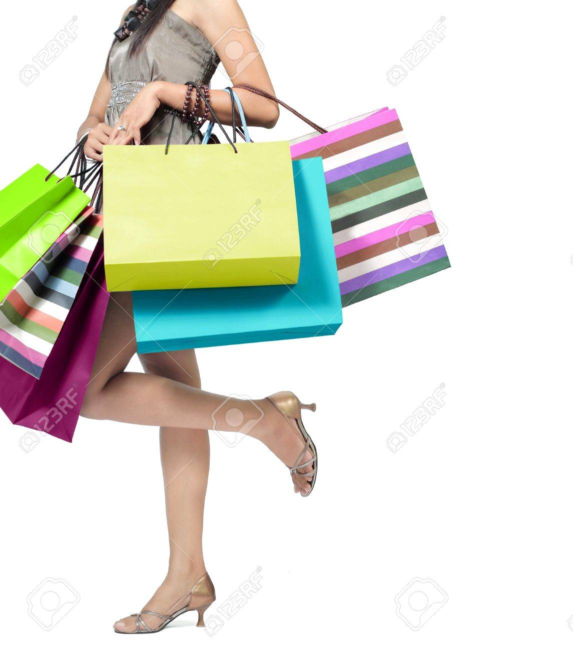 Beautiful Woman With A Lot Of Shopping Bags Stock Photo, Picture ...
