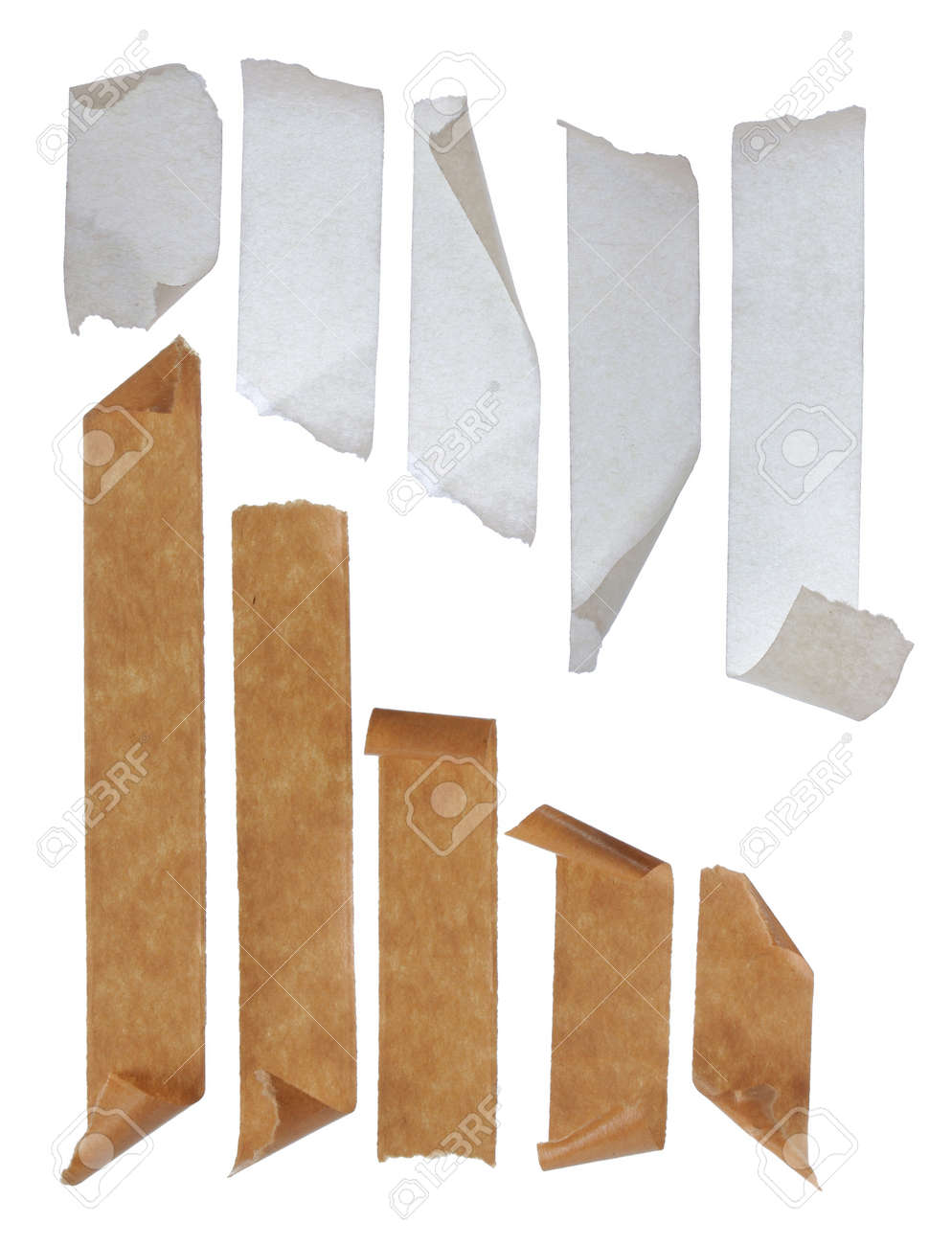 brown and white Strips of masking tape. Isolated on white background. Standard-Bild - 9607734
