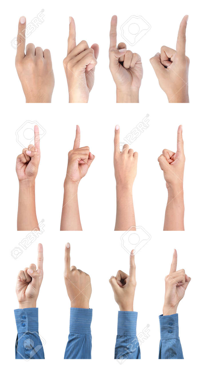 gesture of hand pointing collection. isolated over white background Standard-Bild - 9607750