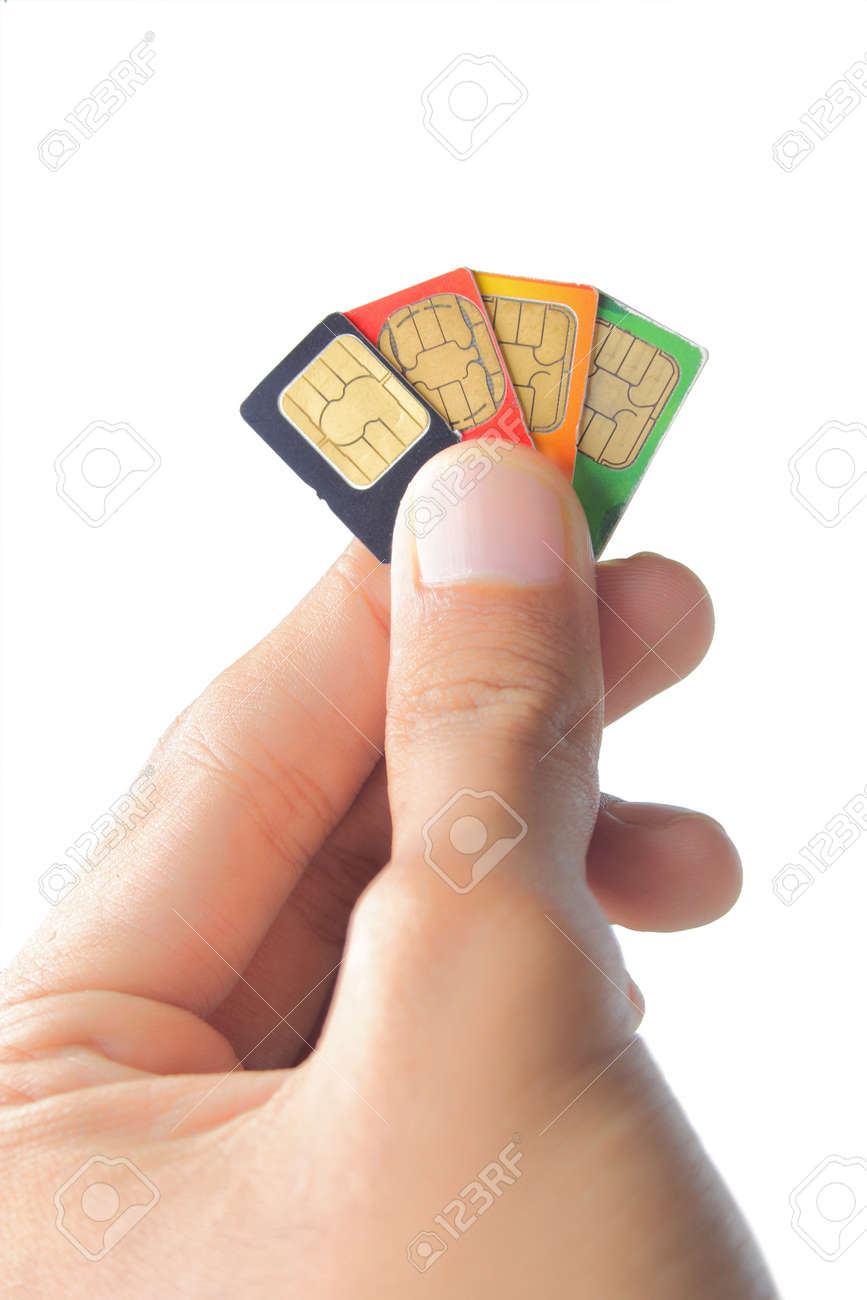 Sim card In a hand isolated on white background Standard-Bild - 9686708